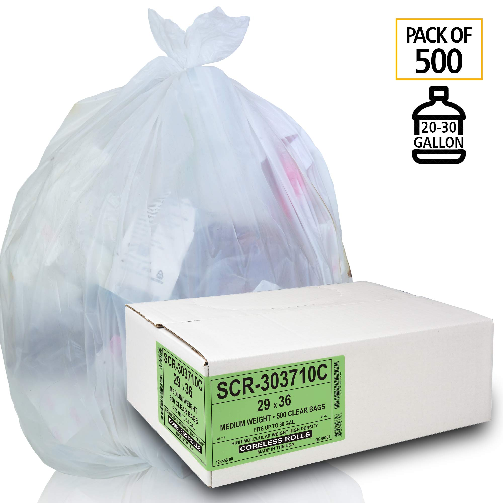 Aluf Plastics 20-30 Gallon Trash Bags - (Commercial 500 Pack) - Source Reduction Series Value High Density 10 Micron Gauge - Intended for Home, Office, Bathroom, Paper, Styrofoam by Aluf Plastics