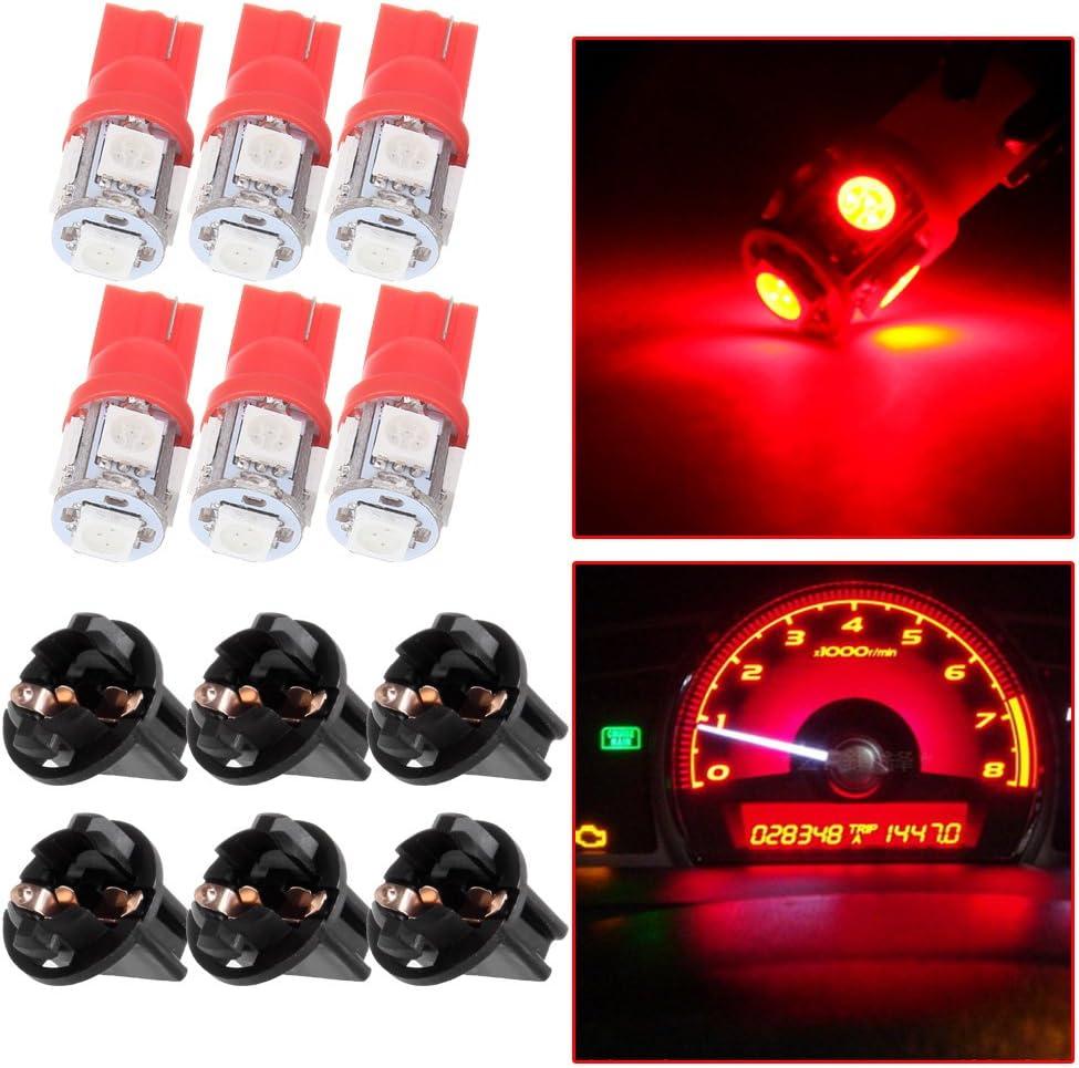 cciyu T10 194 168 LED Light Bulb 158 Dash Light Instrument Cluster Gauge Dash Light Lamp with Twist Sockets,6Pack Red