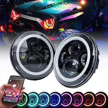 7 Inch Black LED Headlights Halo Angel Eyes fits 1997-2017  Jeep Wrangler JK JKU