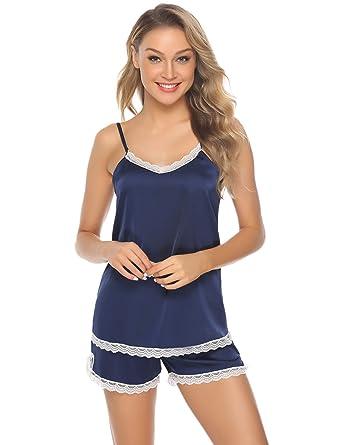 vista previa de boutique de salida hacer un pedido Hawiton Pijama Mujer Verano Corto Raso Pijamas Saten Sexy 2 Piezas de  Encaje Ropa de Dormir para Salón