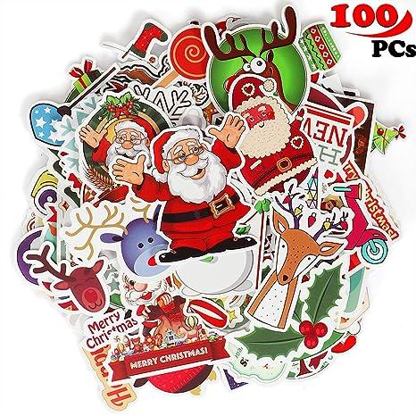 Tacobear 100 Piezas Pegatina Ordenador Pegatina Vinilo Equipaje Pegatina Navidad para Macbook Laptop Tabla Snowboard Equipaje