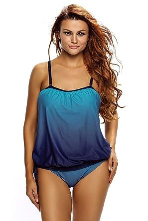 edca1e9992 Amazon.com: Ms.Dream Wowen's Ocean Blue Plus Size 2 Piece Bandeau Tankini  Swimsuit Bathing Suits: Clothing