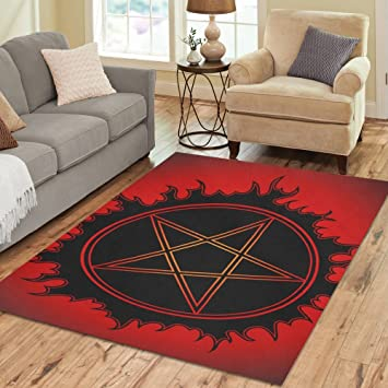 InterestPrint Floor Rugs Mat Custom Black Pentagram Area Rugs Modern Carpet  For Home Dining Room Living