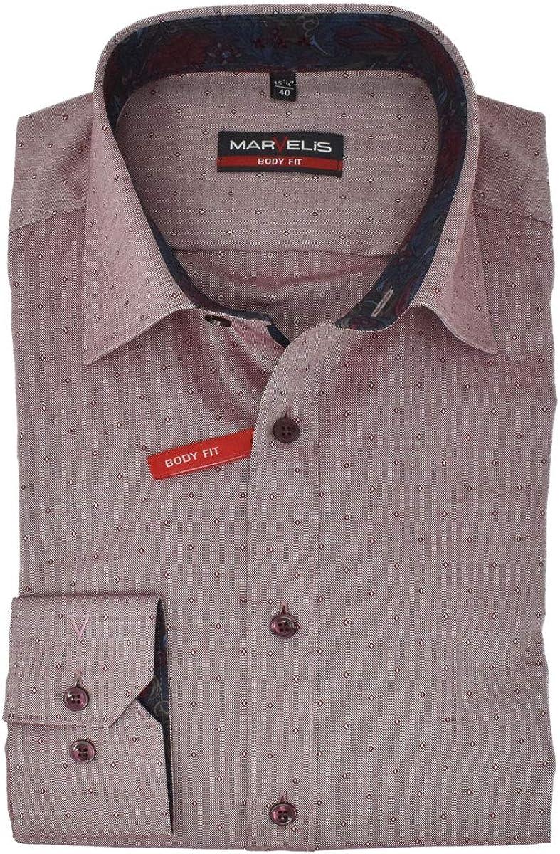 Marvelis Body Fit Camisa New Kent Cuello con Ribete fácil de Planchar Uni Puro algodón: Amazon.es: Ropa y accesorios