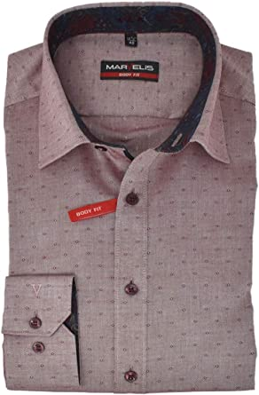 Marvelis Camisa Body Fit New Kent con cuello con ribete, fácil de planchar, de algodón puro