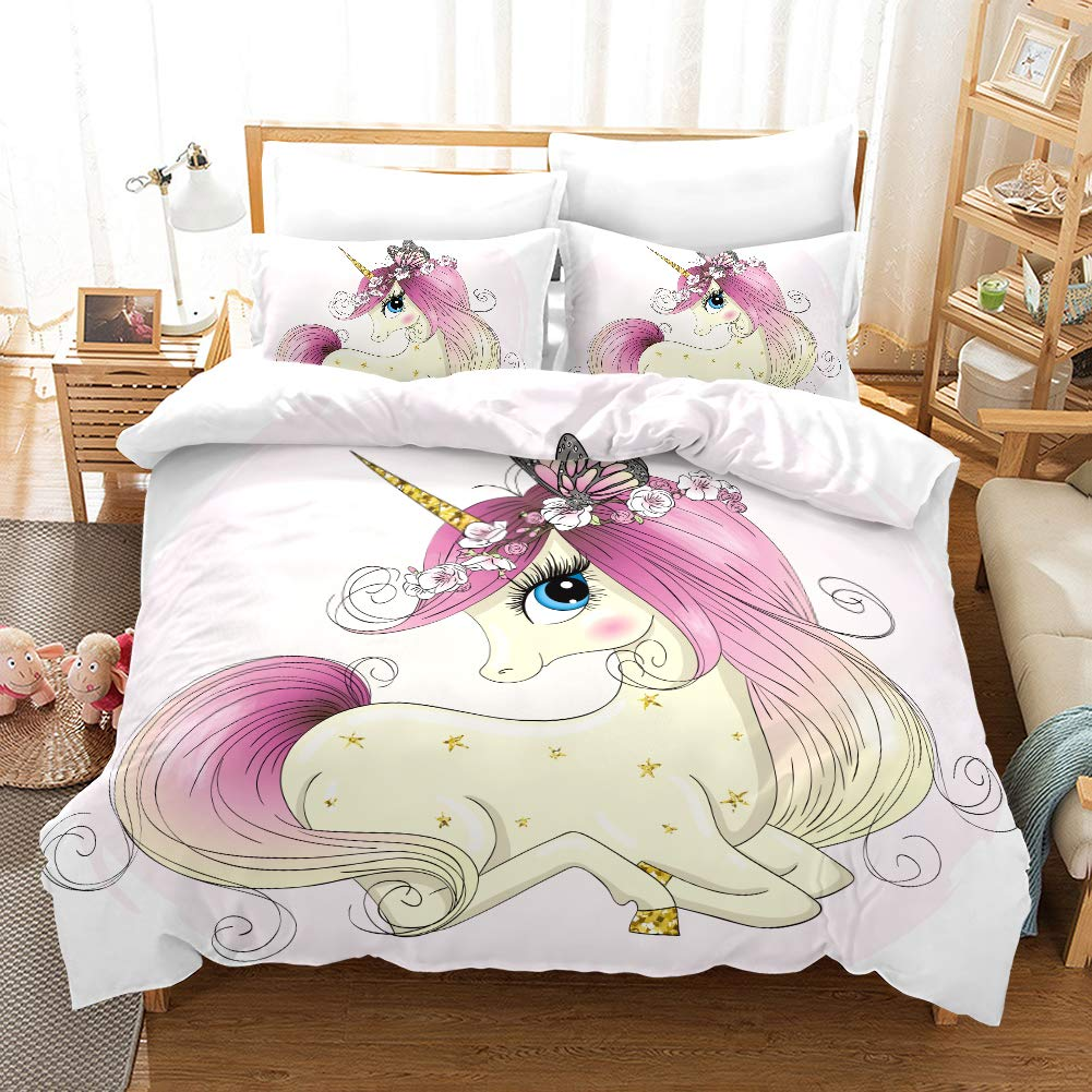 ViewHuge Kids Bedding Duvet Cover Set,Cute Magical Unicorn with 3 Piece Super Soft Bedding Sets for Girls Women by ViewHuge
