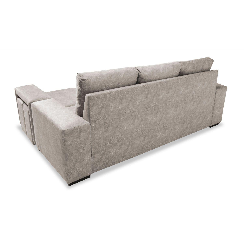 Mueble Sofa con Chaise Longue y Arcon abatible 3 plazas color Beige cheslong SUBIDA A DOMICILIO