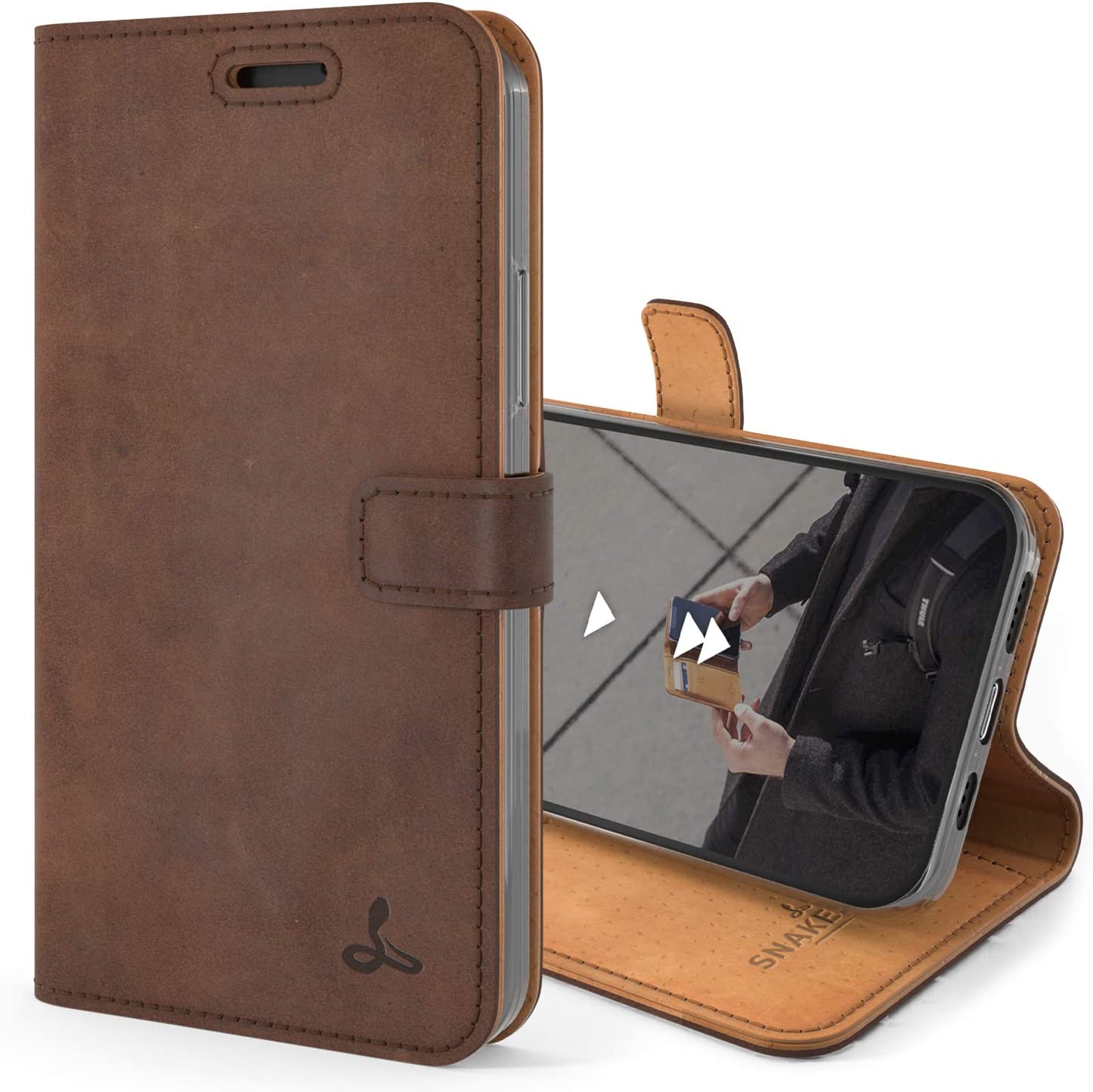 Snakehive Vintage Wallet for iPhone 12 || Real Leather Wallet Phone Case || Genuine Leather with Viewing Stand & 3 Card Holder || Flip Folio Cover with Card Slot (Brown)