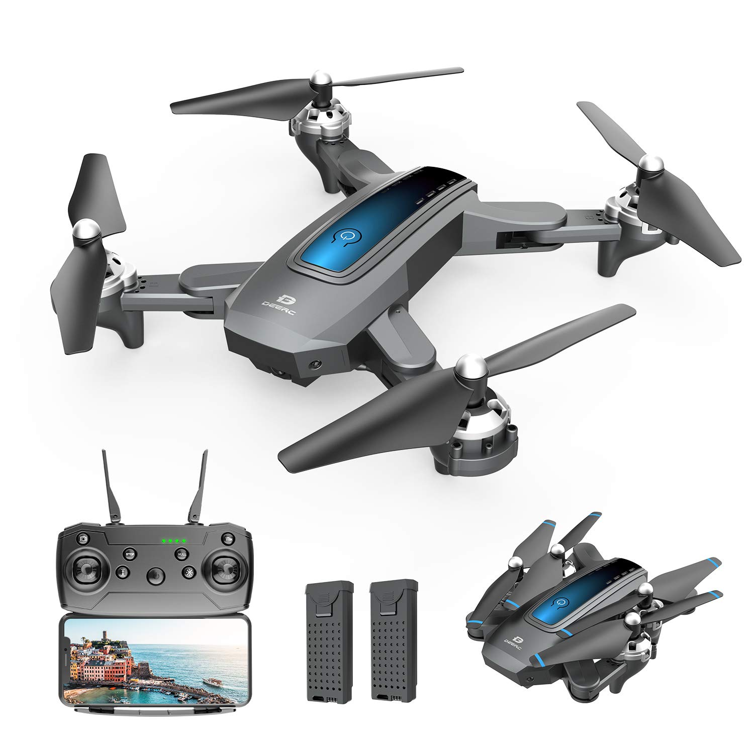 Gravity Sensor,Foldable RC Quadcopter with 3 Batteries RC Drone Kids with 1080P Live Video Headless Mode,3 Speed Mode Tap Fly,Altitude Hold