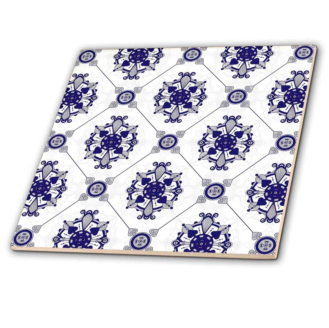 3dRose ct_192861_4 Elegant Blue & White Medallion Pattern Ceramic Tile, 12''