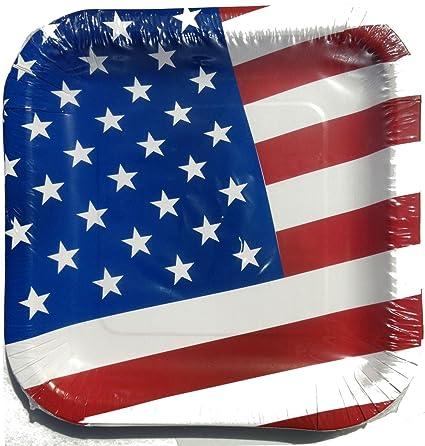 Amazon.com   4th of July Patriotic American Flag Paper Plates, 14 ...