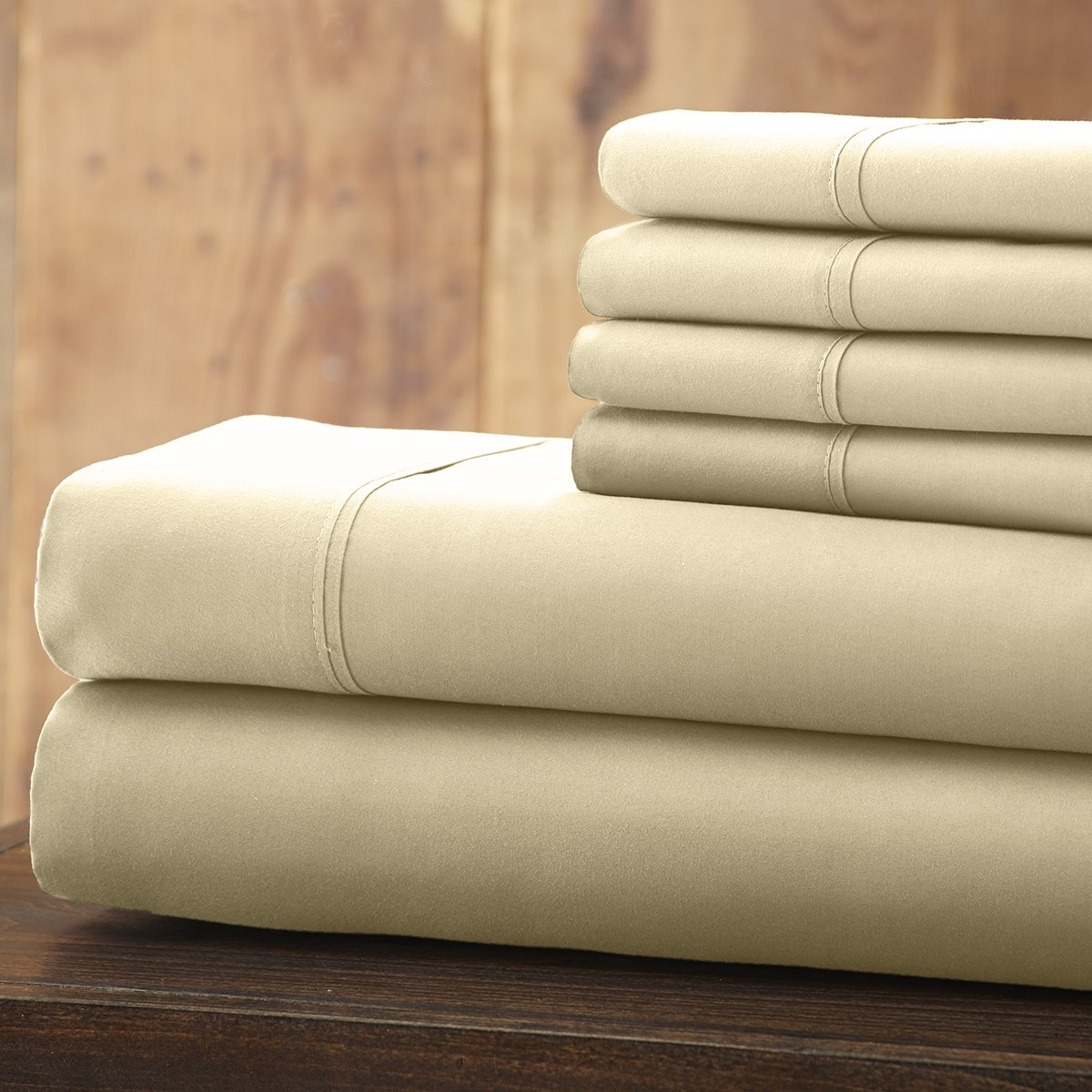 Spirit Linen 6 Piece Everyday Essentials 1800 Series Sheet Set, Queen, Ivory