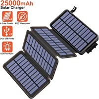 Hiluckey Cargador Solar 25000mAh, Portátil Power Bank con 4 Paneles Solar 2 USB 2.1A Output Impermeabl Batería Externa para iPhone, iPad, Samsung, Smartphone