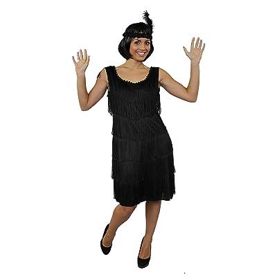 Déguisement pour femme des années 20 avec cette magnifique robe noire à franges devant et derrière style charleston + un bandeau à plume assorti + un collier de fausses perles argenté