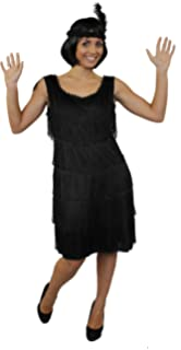 371967686080a Déguisement pour femme des années 20 avec cette magnifique robe noire à  franges devant et derrière