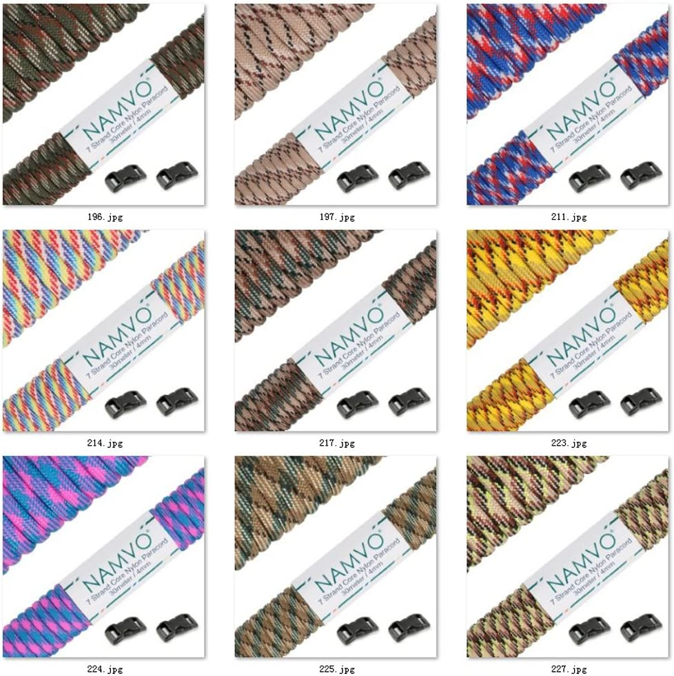 Namvo 550 Paracord Mil Spec Type III 7 strand parachute cord Total Length 100ft // 30 Meters gray Camo Green