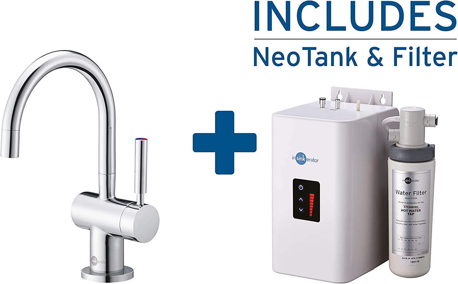 InSinkErator HC3300 Instant Hot Water and Filtered Cold Water Tap with Tank Kit, Chrome
