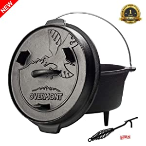Overmont 6 Quart/9 Quart All-Round Camp Dutch Oven Camping Kettle Pre Seasoned Cast Iron Pot and Lid Griddle with Lid Lifter Handle for Camping Cooking BBQ Baking
