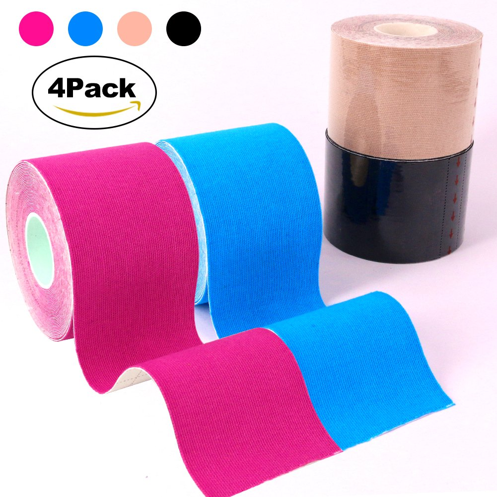 Kindax Kinesiology Tape Pack of 4 Rolls for Athletic Sports, Reduce Pain and Injury Recovery Water Resistant, 180% Elastic Stretch - 2 inches x 16.4 Feet Roll