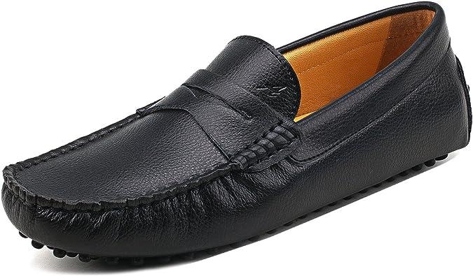 Shenduo Hombre Zapatos Casuales - Mocasines de Cuero Suave sin Cordones cómodos para Hombre D7152 Negro 40: Amazon.es: Zapatos y complementos