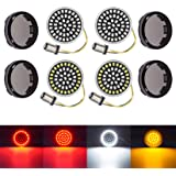 PBYMT 1157 Front Rear Turn Signal Light Kit LED SMD Bulb Smoke Lens Cover Compatible for Harley Dyna Softail Touring Street G