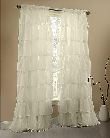 Amazon.com: Gee Di Moda Cream Ruffle Curtains Gypsy Lace Curtains ...
