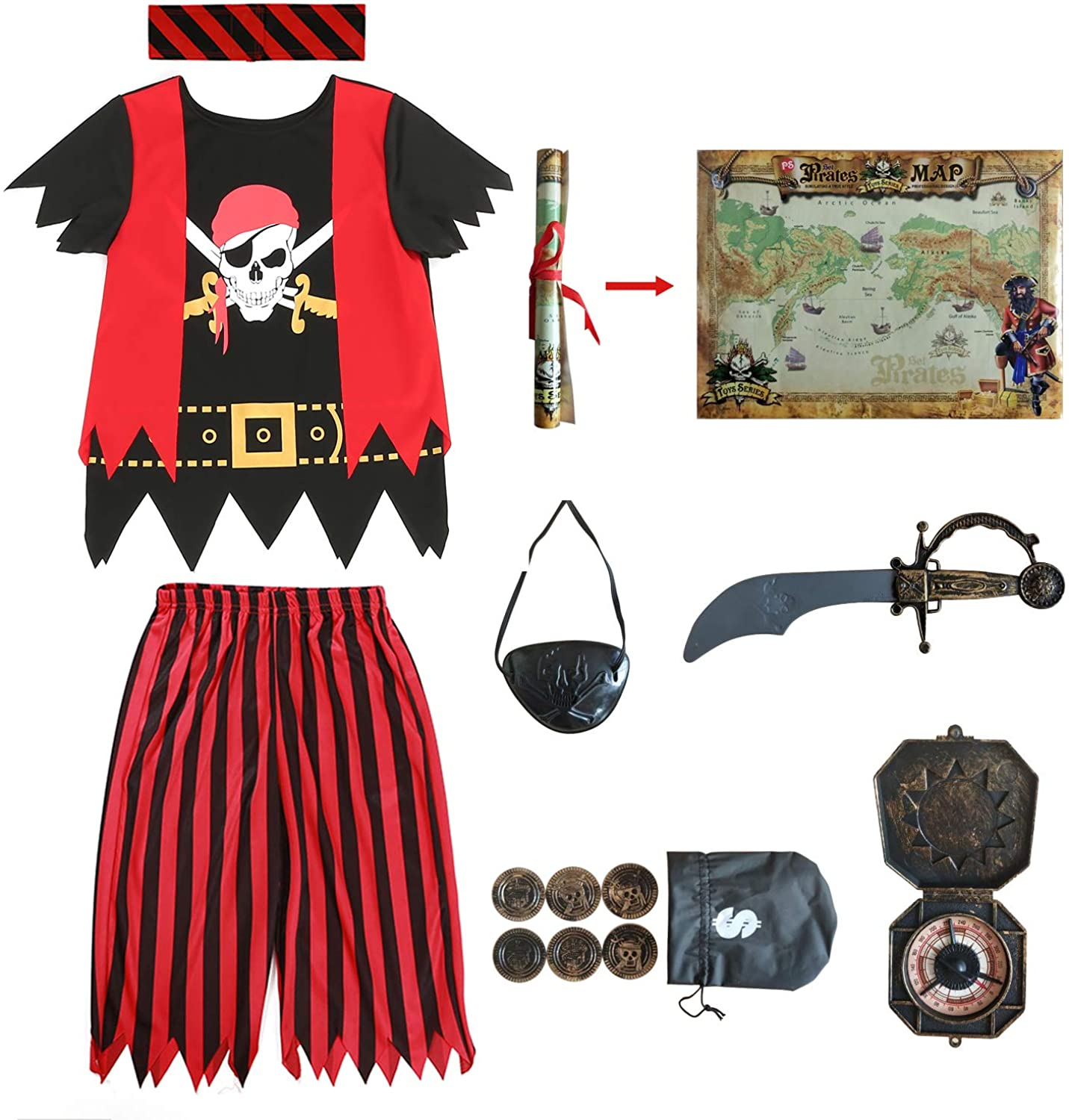 Kids Pirate Costume,Pirate Role Play Dress Up Completed Set 8pcs for Boys Size 3-4,5-6,7-8,8-10