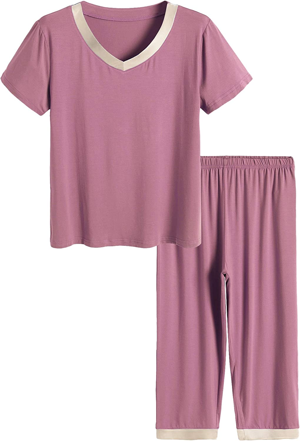 Latuza Women's Sleepwear Tops with Capri Pants Pajama Sets