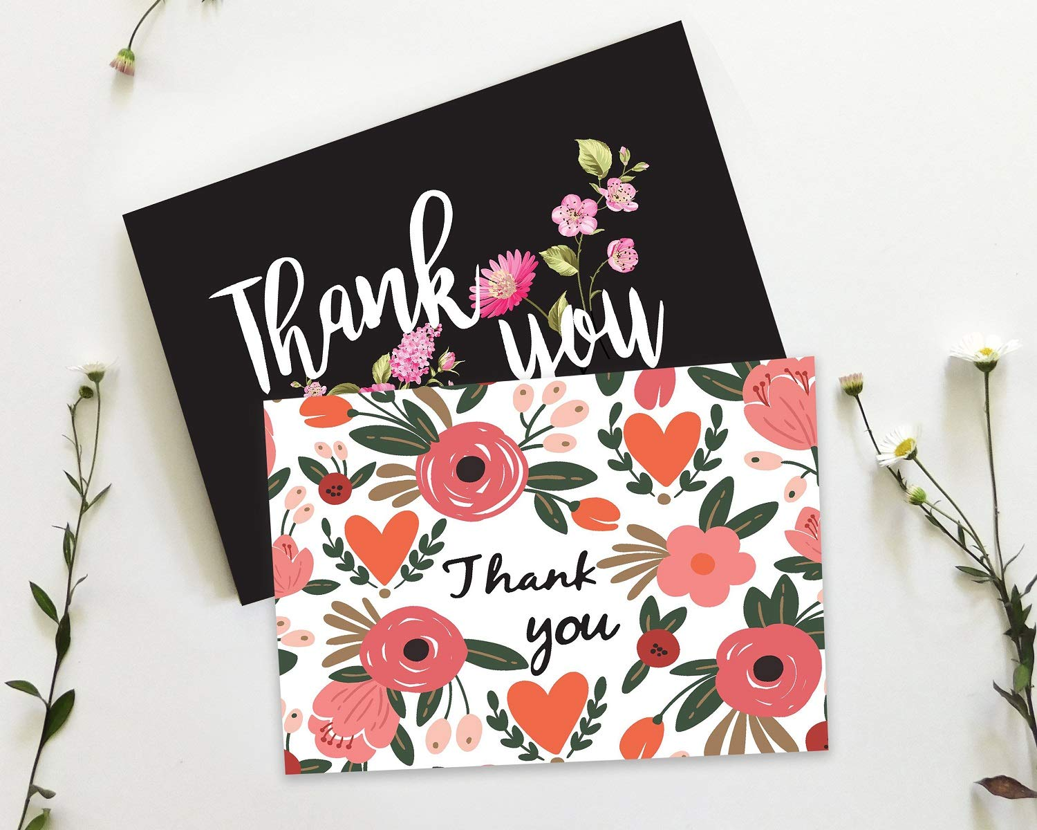 48 Thank You Cards Floral Flower Greeting Cards with Envelopes Summer Time Thank U Note Card for Baby Shower, Wedding, Bridal Shower, Business - Assorted Bulk Pack Blank Inside 4 x 6 inches