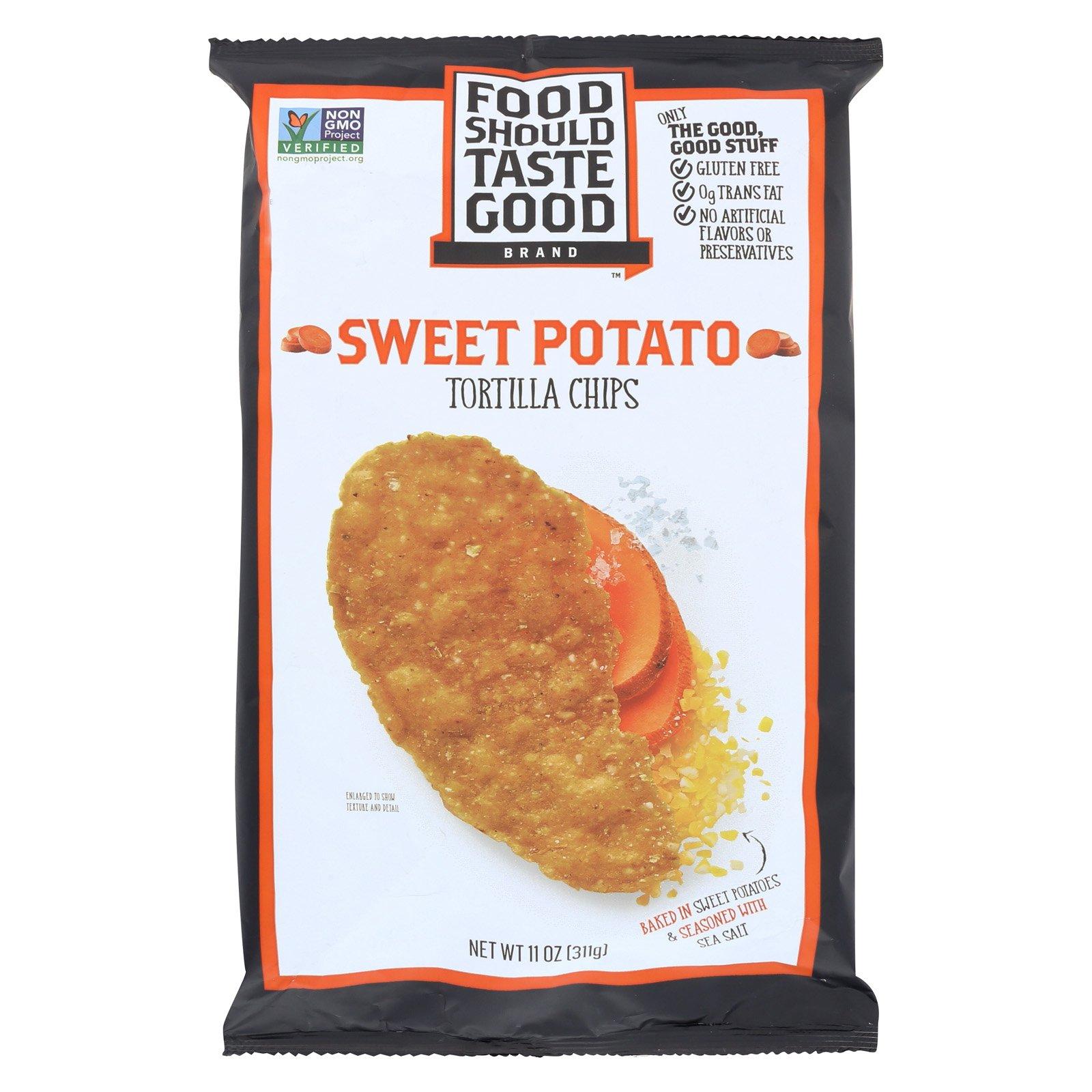 Food Should Taste Good Sweet Potato Tortilla Chips - Sweet Potato - Case of 12 - 11 oz. by Food Should Taste Good