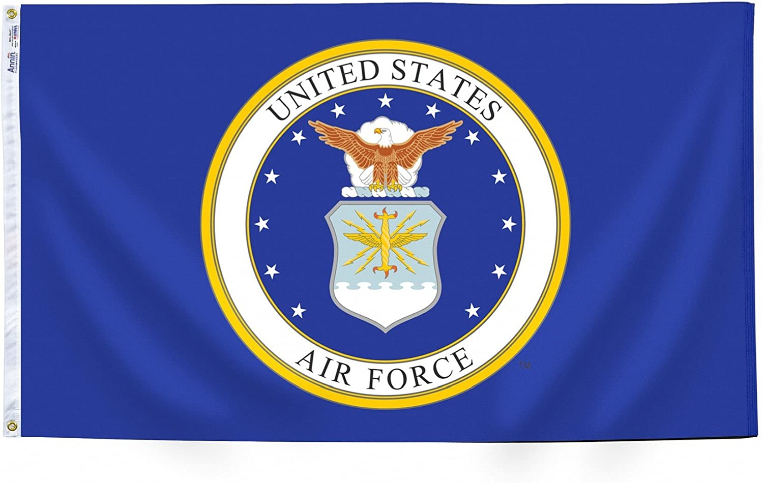 Annin Flagmakers Model 439010 U.S. Airforce Military Flag 3x5 ft. Nylon SolarGuard Nyl-Glo 100% Made in USA to Official Specifications. Officially Licensed Manufacturer.