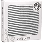Grey Crib Sheets by Margaux & May - Stripes - Ultra Soft Muslin Cotton - Great Unisex Gift for Baby Shower - Fits Standard Mattresses for Babies and Toddlers