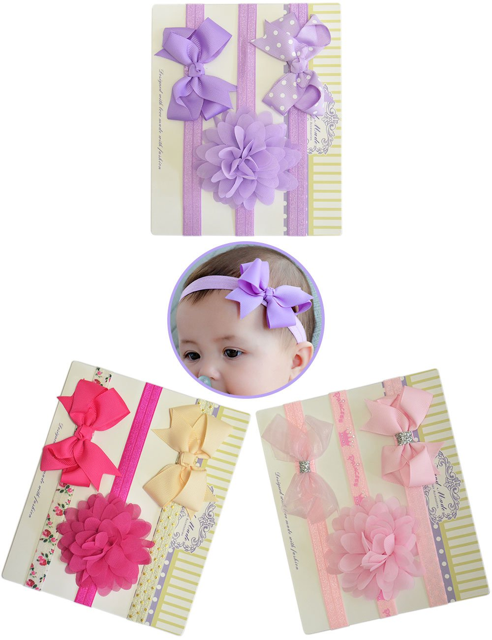SnowArt Baby Headbands Flower Knotted Girls' Hairbands for Newborn,Infant,Toddler,Children Sets (9Color_style2)