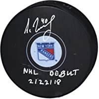 "$47 » Alexandar Georgiev New York Rangers Autographed Hockey Puck with""NHL Debut 2/22/18"" Inscription - Fanatics Authentic Certified"
