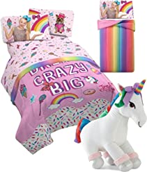 JoJo Siwa Twin Comforter and Sheet Set + Plush Sparkle Unicorn Pillow Buddy