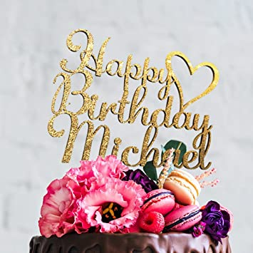 Happy Birthday Personalized Cake Topper With Customizable