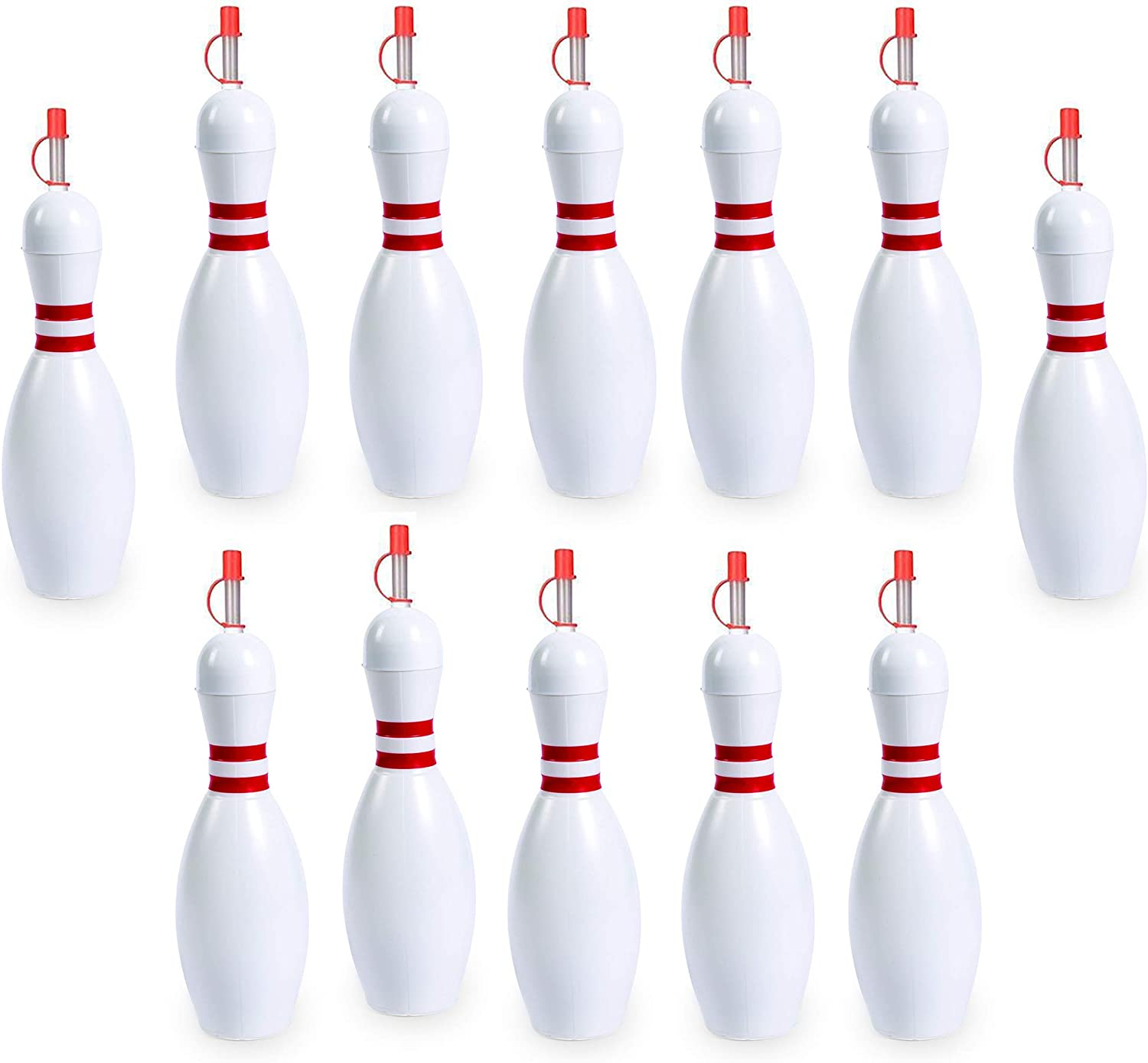 Bowling Pin Water Bottle Cup [12 Pack] Holds 24 Ounces, Great Birthday Party Favor, Summer Carnival Supplies, Blowing Pin Bottle, By 4E's Novelty