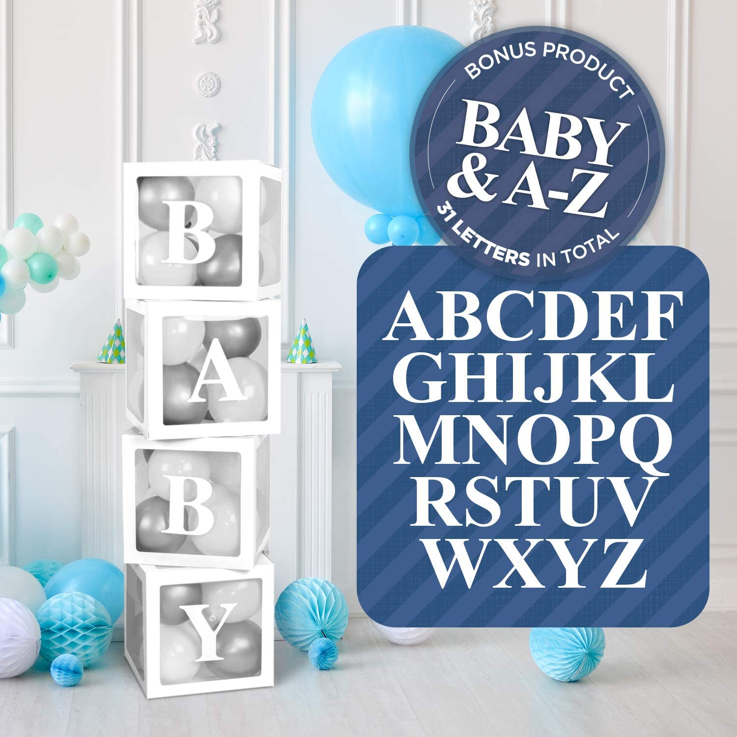 Baby Shower Balloon Box Decorations | 31 Letters A-Z + B + BABY for GRAD, Names for Birthday Party Decor, Gender Reveal Transparent Decorative Blocks (White)