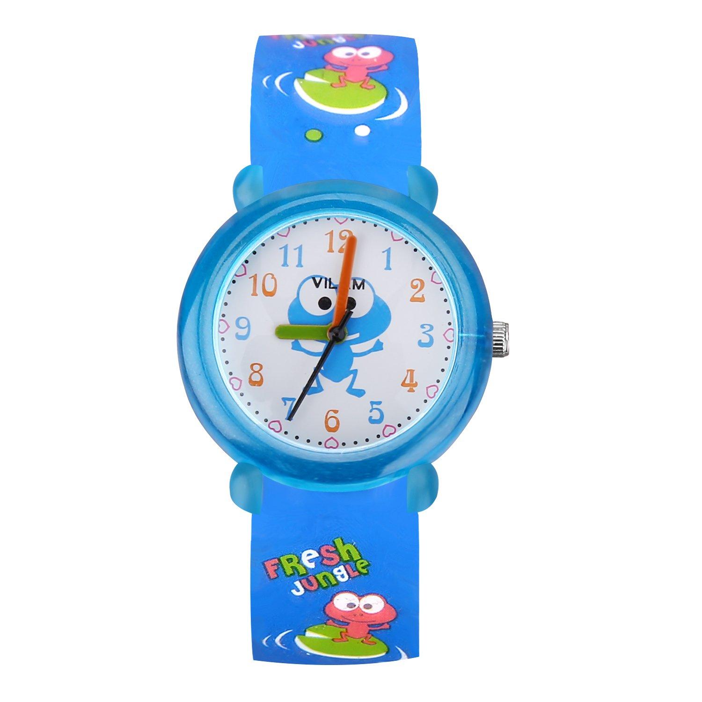 PerSuper Kids Watch 30M Waterproof Teenagers Young Time Teacher Watches PU Band Children Cartoon Wristwatch Child Silicone Wrist Watches Gift for Boys Girls Little Child(Blue)