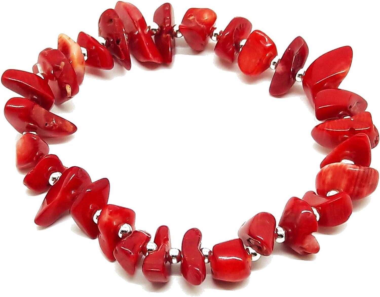 El Coral Pulsera Rojo Chips y Bolitas Plateadas intercaladas elástica