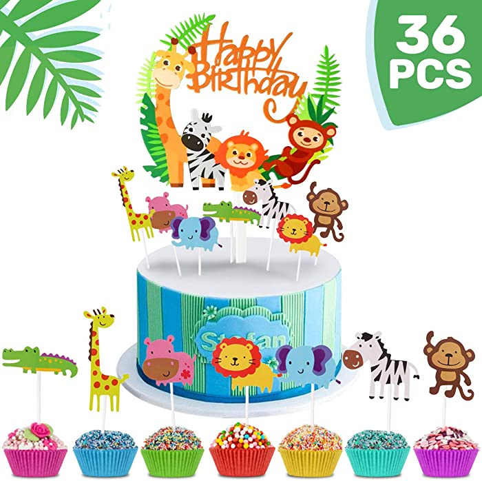 MOVINPE 36pcs Jungle Cake Decoration, 1pcs Jungle Animal Happy Birthday Banner, 35 Animal Cupcake Topper for Kid Birthday Party, Jungle Safari Theme Party