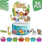 iZoeL 36pcs Jungle Safari Cake Cupcake Decoration, 1pcs Jungle Animals Happy Birthday Banner, 35 Animal Cupcake Toppers…