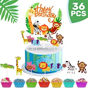 iZoeL 36pcs Jungle Safari Cake Cupcake Decoration, 1pcs Jungle Animals Happy Birthday Banner, 35 Animal Cupcake Toppers for Kid Birthday Party, Jungle Safari Theme Party