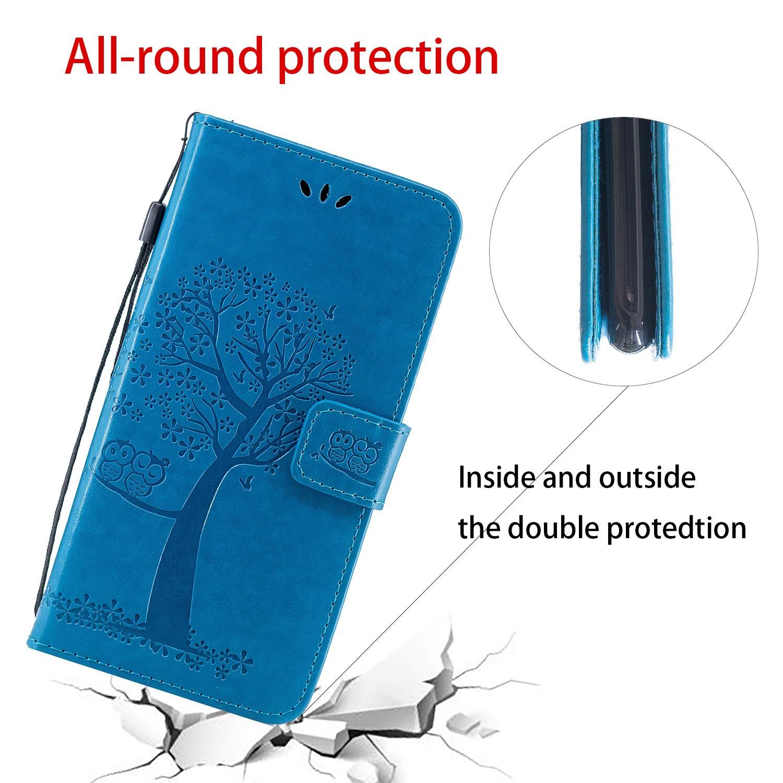 Huzhider Sottile in Pelle Sintetica Antiurto con Chiusura Magnetica Custodia a Portafoglio per Samsung Galaxy A50 2019 Motivo Gufo e Albero