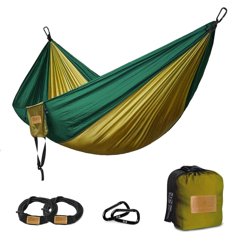 GreenMallダブルポータブルキャンプハンモック、ソフト通気性パラシュートナイロン軽量ハンモックのハイキング旅行バックビーチガーデン、660lbs容量、3年保証 B07B94BQMT 118