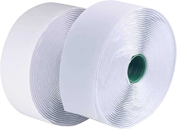LLPT Hook and Loop Tape 2 Inch x 23 Feet Each Roll Heavy Duty Adhesive Industrial Strength Hook Loop Strip Mounting Tape for Indoor and Outdoor White (HTW230)