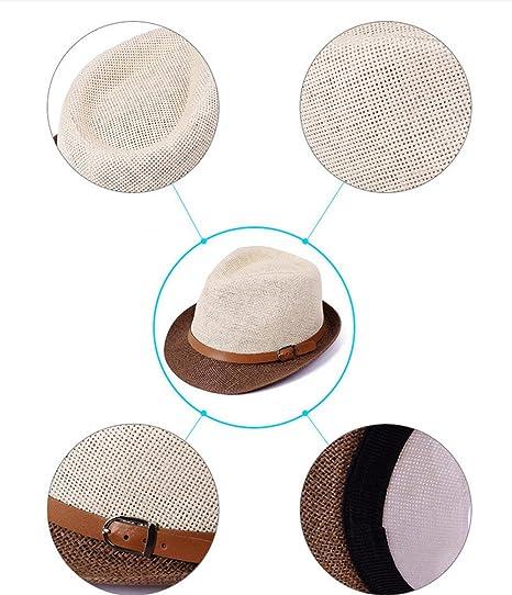 Color marr/ón Kentop Unisex Jazz Sombrero Sombrero Sombrero de Paja Sombrero de Verano tama/ño 54-59 cm