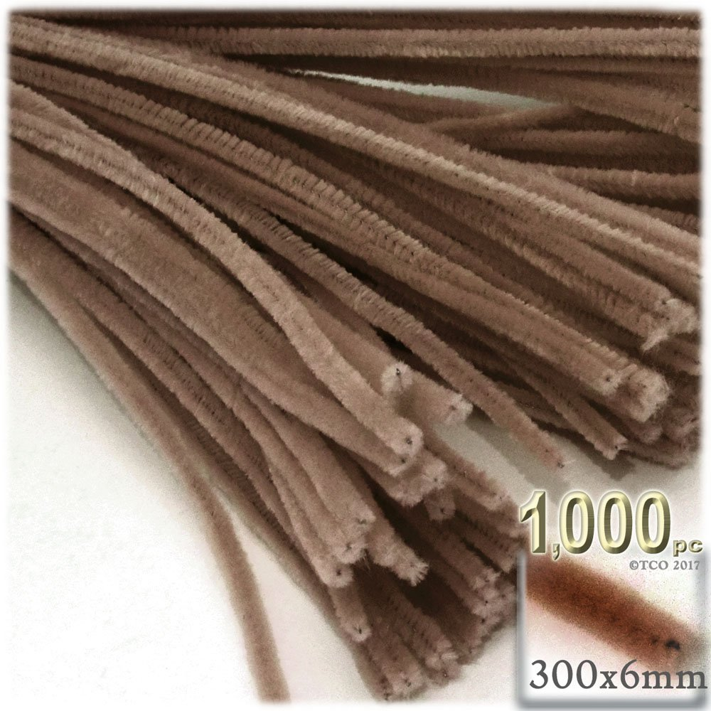 The Crafts Outlet Chenille Stems, Pipe Cleaner, 12-inch (30-cm), 1000-pc, Light Brown by The Crafts Outlet
