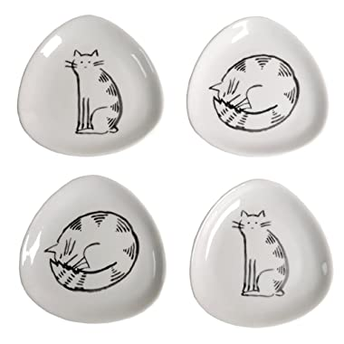 Creative Co-Op 4.5  Ceramic Triangle Plates with Cats, Set of 4