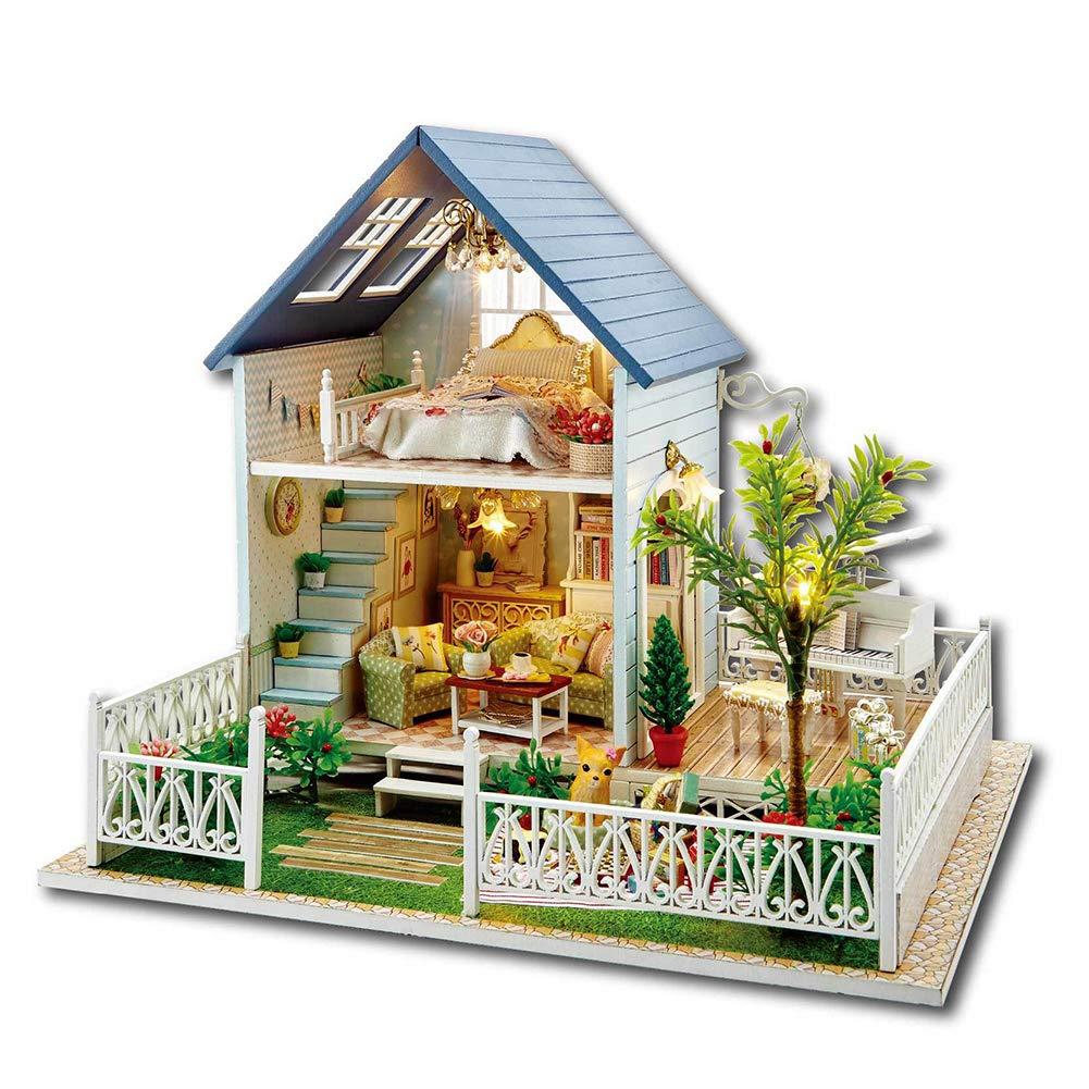 Bobbbiio Puppenhaus Mini Häuser DIY Schoene Schlafzimmer Dollhouse DIY Kit Geschenk Mit Licht und Musik Nacht Verträumte Ästhetik